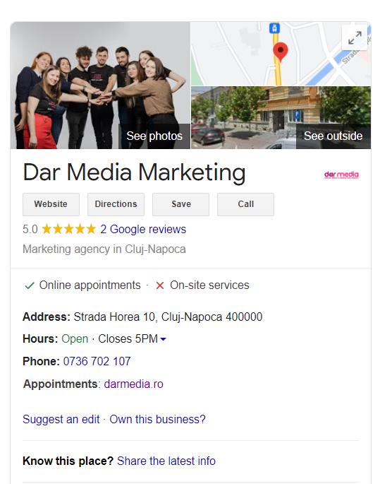 Profilul de Google my Business al DAR Media Marketing în rezultatele cautarilor pe Google